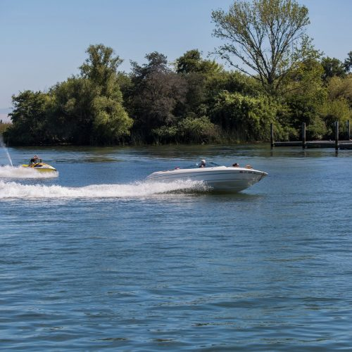 Powerboats riding on Delta waters