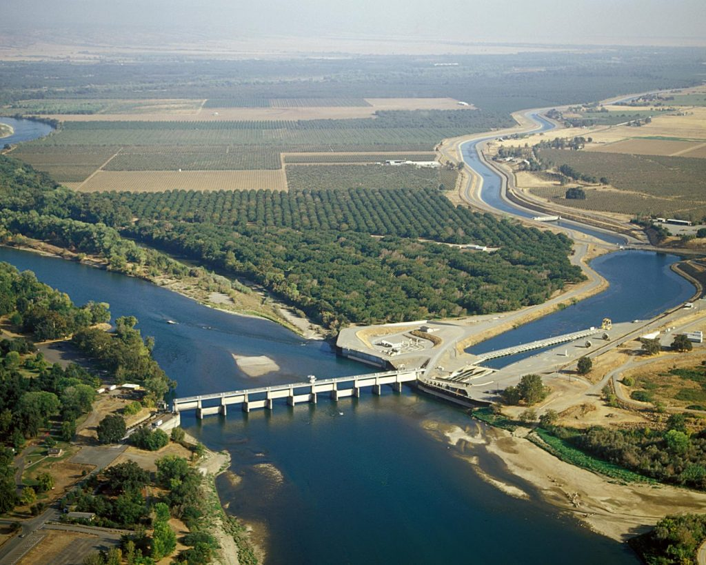Aerial view of farmland in the Delta