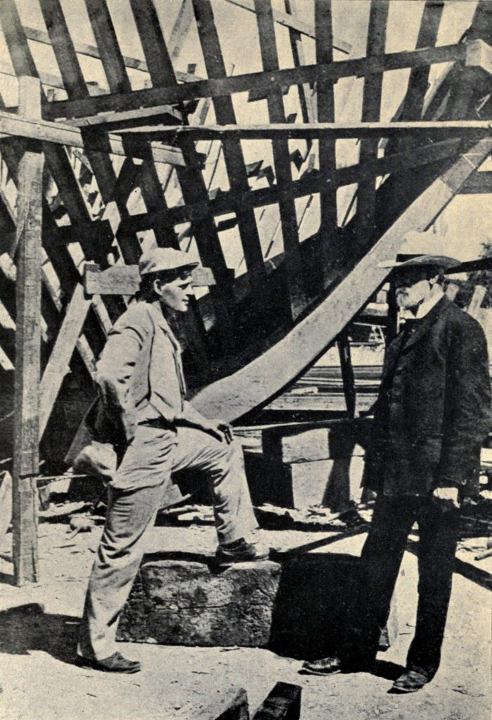 Historic black and white photo of Jack London at the Building of the Snark