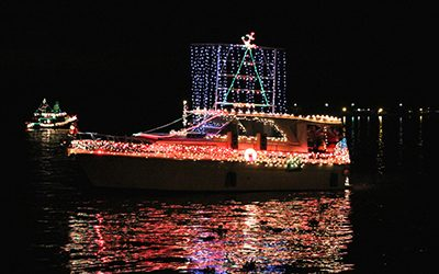 Boat with Christmas Lights for a boat parade in the California Delta
