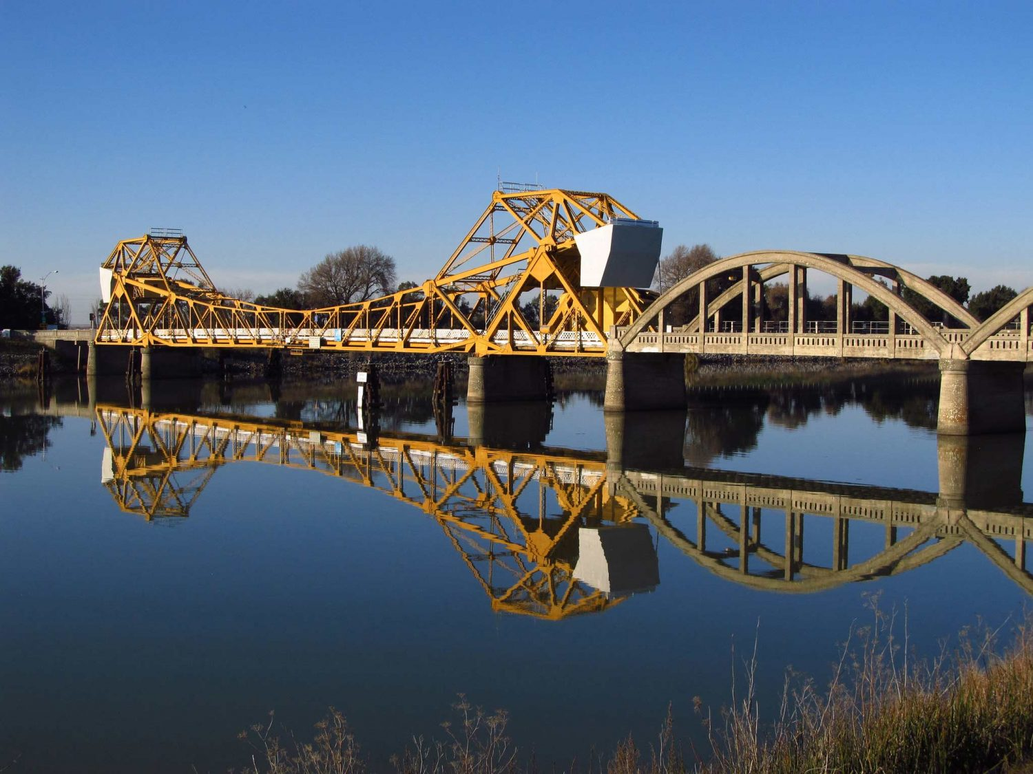 View of the Courtland Bridge in the California Delta
