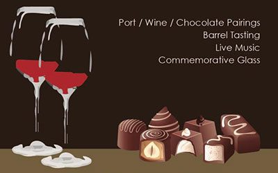 Wine and chocolate paring event flyer