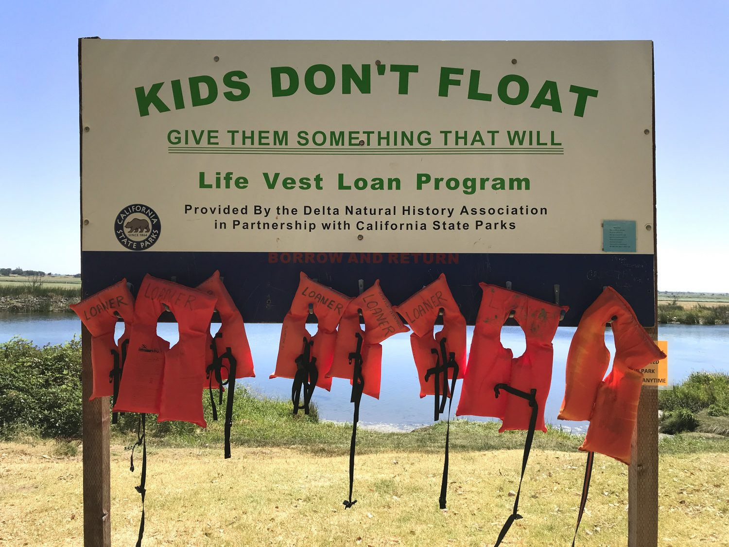 free rental life vests available for public use