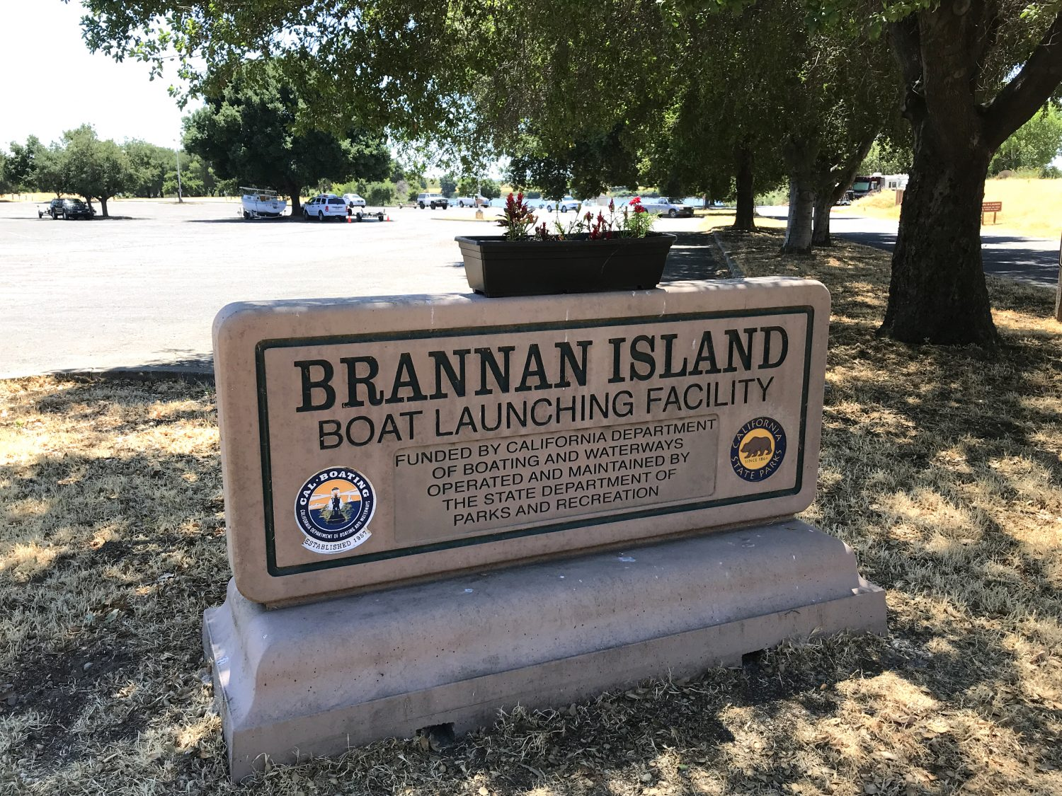 Brannan Island boat launch facility sign