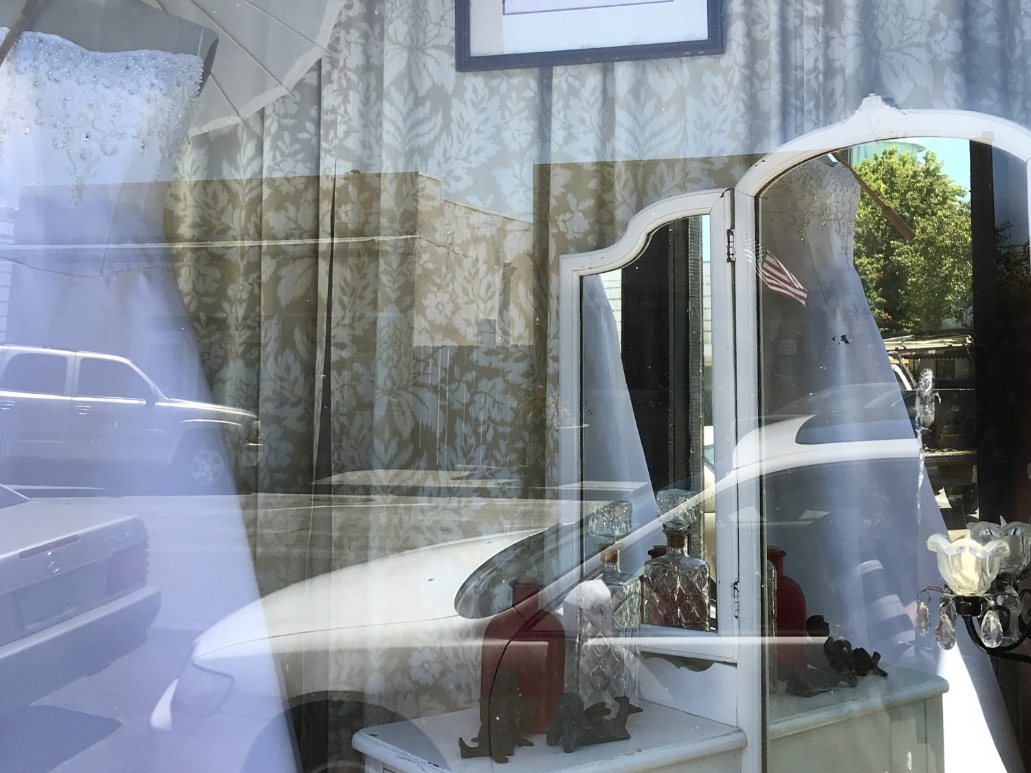 Window shopping of wedding boutiques in Isleton