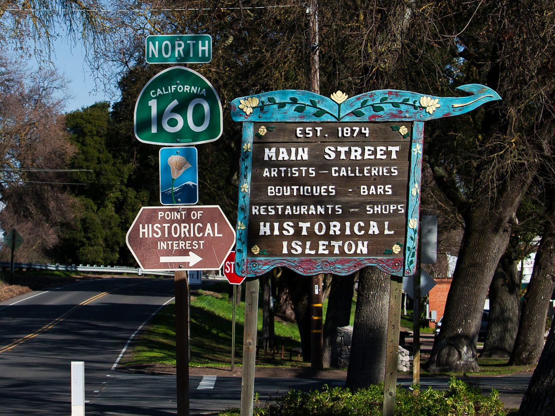 Historical Isleton directory sign