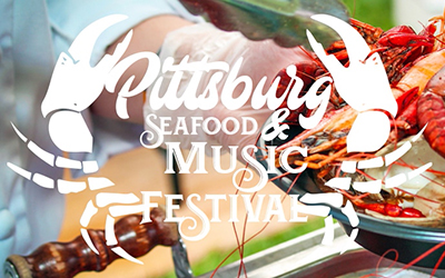 Event flyer for seafood festival in Pittsburg