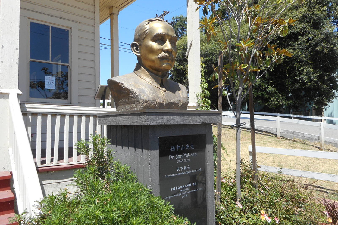 Dr. Sun Yat-sen statue in historic Locke
