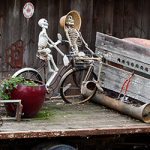 Delta Halloween skeletons on the back of a truck decor