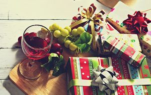 Holiday presents and wine