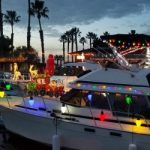 boat decorated with Christmas lights