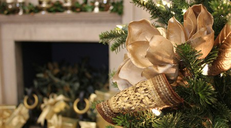 Christmas tree bow and decorations