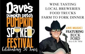 event flyer for Dave's Spiked Pumpkin Festival with Buck Ford