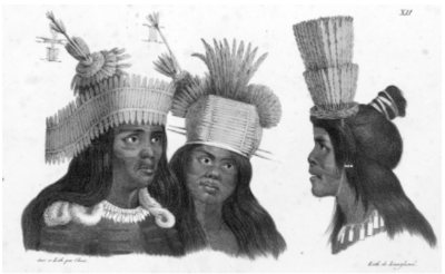 Painting of three Native Americans